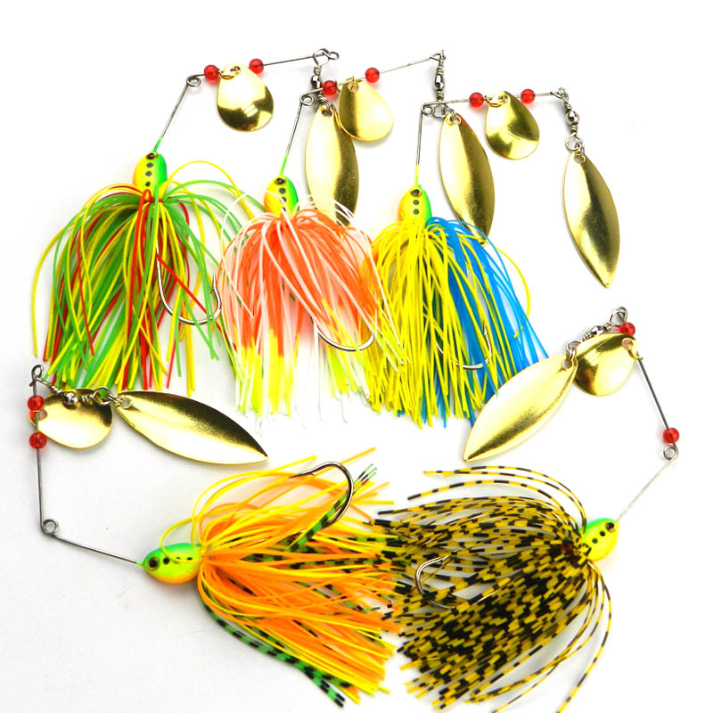 5Pcs/Lot Spinnerbait Bass Rotating Fish-type Sequined Beard Lures Noisy Bait Buzz Spoon Spinner baits Target for Catfish Bass