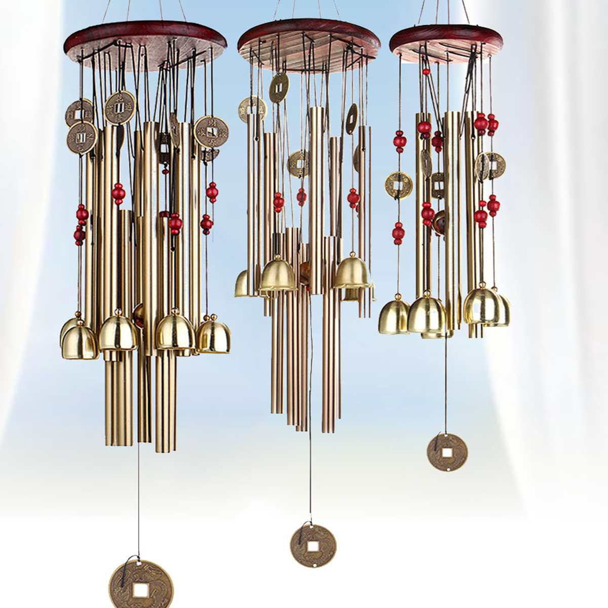 Chinese Carp Fish Copper Bell Lucky Feng Shui Hanging Wind Chime 3 Bells