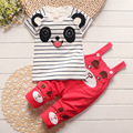 Boys And Girls Fashion Cartoon T-shirt + Striped Overalls Cute Solid Color Suit Baby Clothes Tide Children's Clothing Sets 1-4 Y