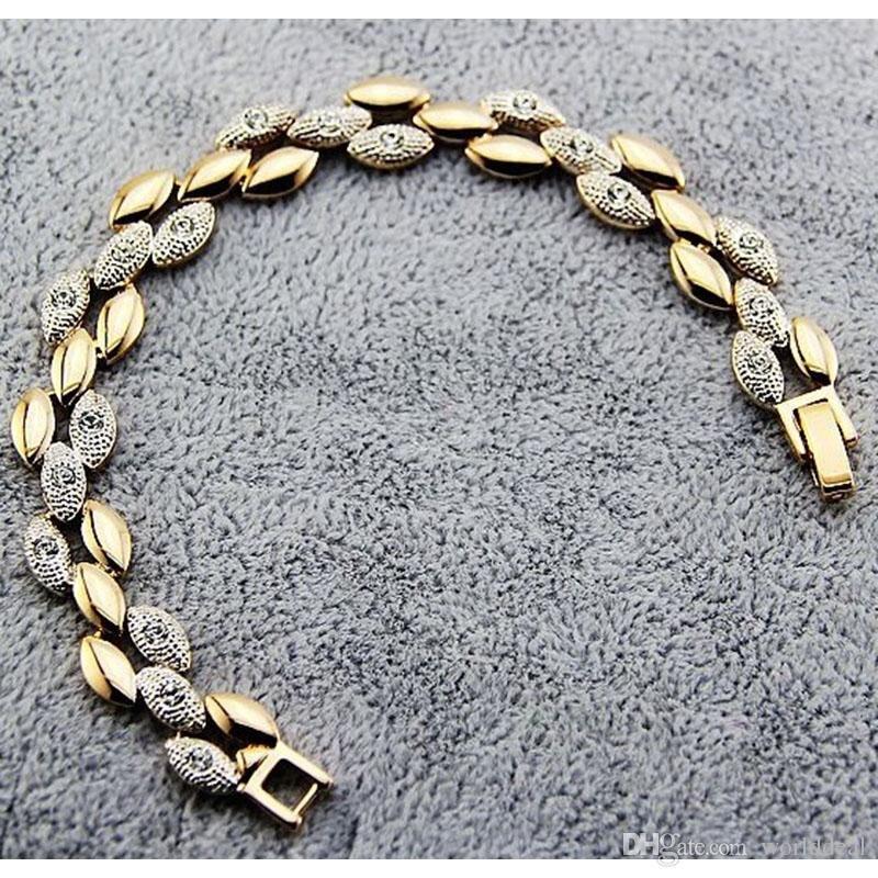 Fashion Double Color Wheat font b Bracelet b font Alloy Rhinestone Wrist font b Chain b
