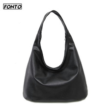 2019 Spring New European and American Retro Style Simple Large Capacity Black Shoulder Bag Handbag #197923