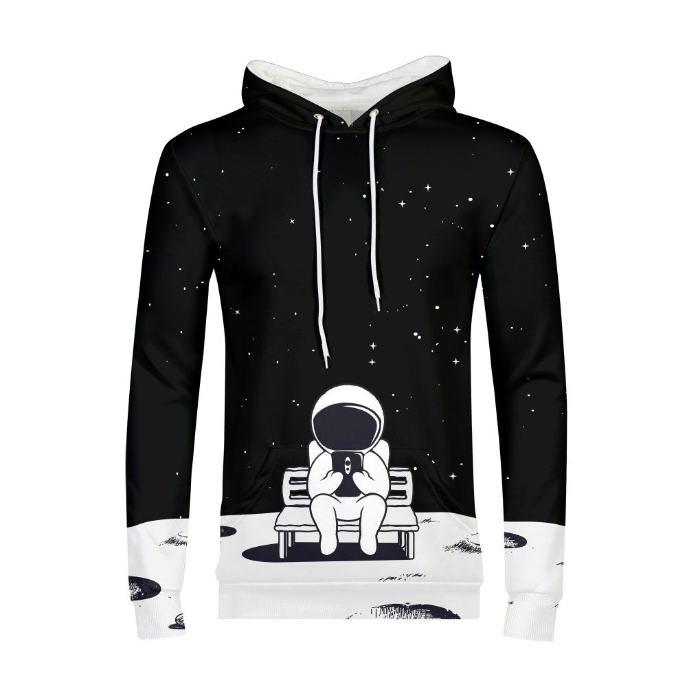 Harajuku Astronauts Play Cell Phone Galaxy Hoody 3d Sweatshirt Men Long Sleeve Clothes 2018 Teens Boys Streetwear Hoodies Male
