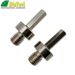 DIATOOL 2 sztuk gwint Adapter konwerter M14 gwint zewnętrzny do 3/8 sześciokątne cholewka dla M14 podstawowych bitów zamontowane na ręcznie wiertarka wiertarka elektryczna