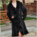 Mink Fur coat 2016 Hot Design Europe Style Luxury Long Sleeve Women's Knitted Genuine Long Mink Fur Extra Large Coat 5XL 6XL 7XL