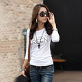Korean winter Women T-Shirt letter printing Polyester slim girl shirt Blending Long Sleeve Top female Crew Neck Fabric Clothing