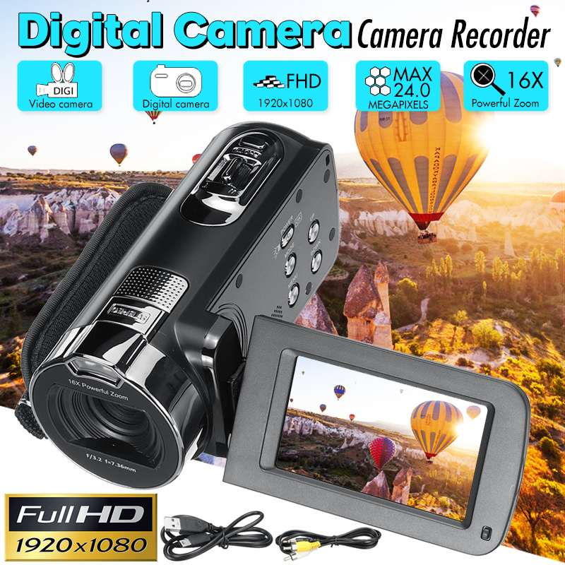 24 Million Pixels HD Video Camcorder Handheld 1080P Digital Camera LED Flash 16x Digital Zoom Camcorder DV Recorder