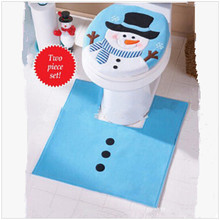 1set Blue Fancy Snowman Toilet Seat Cover And Rug Bathroom Set Christmas Decoration Zq881652 China