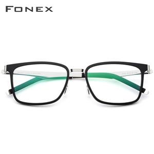 Image 3 - Fonex TR90 眼鏡フレーム、2019近視処方眼鏡のフレーム、スクエア眼鏡無ねじフレーム男女共用516
