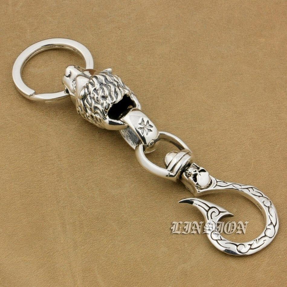 Solide 925 en argent Sterling crâne crochet énorme Lion hommes Biker Rocker Punk porte-clés ceinture Clip 9T020