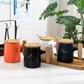 Керамическая чашка с простой деревянной ручкой  матовая  шлифованная  роскошная  в скандинавском стиле  для бизнеса  офиса  дома  чая  кофе  в...