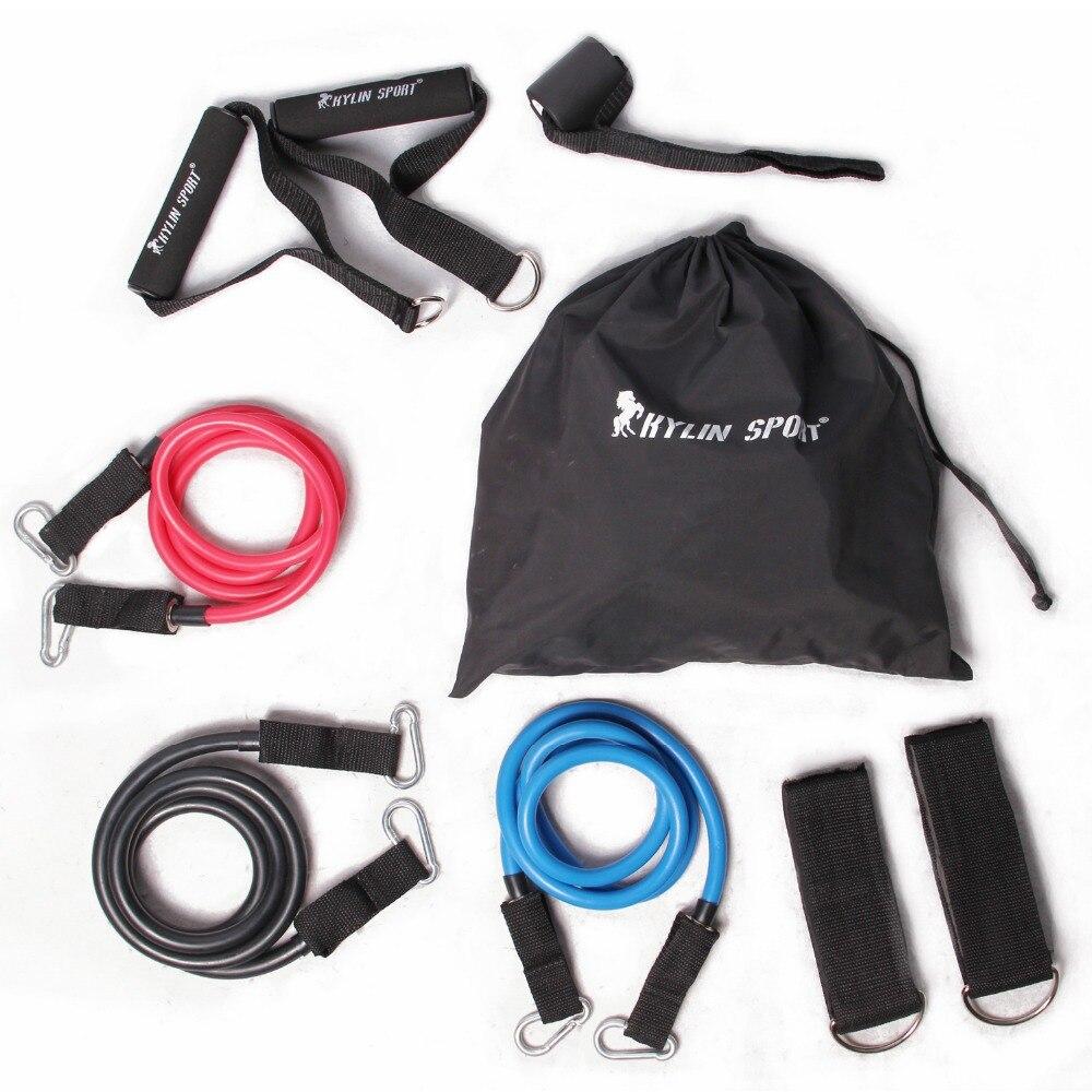 9 шт. Yoga Пилатес тренировки Сопротивление группы эластичный упражнение Набор Фитнес Tube для оптовая продажа и бесплатная доставка Kylin СПОРТ