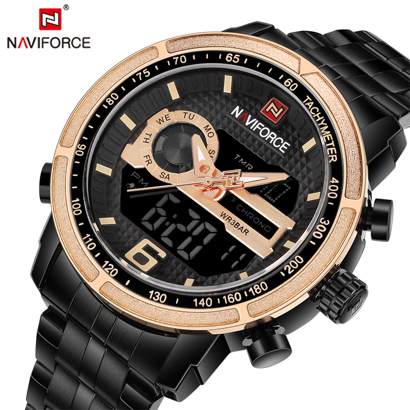 NAVIFORCE Luxury Men's Dual Display Fashion Sport Watches Men Full Steel Waterproof Analog 24 Hour Wristwatch Relogio Masculino goblin shark sport watch 3d logo dual movement waterproof full black analog silicone strap fashion men casual wristwatch sh165