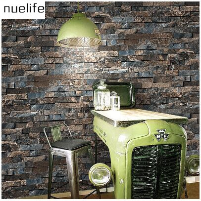 Chinese 3D Stereo Simulation Stone Brick Pattern Wallpaper Living Room Bedroom TV Sofa Background Wallpaper
