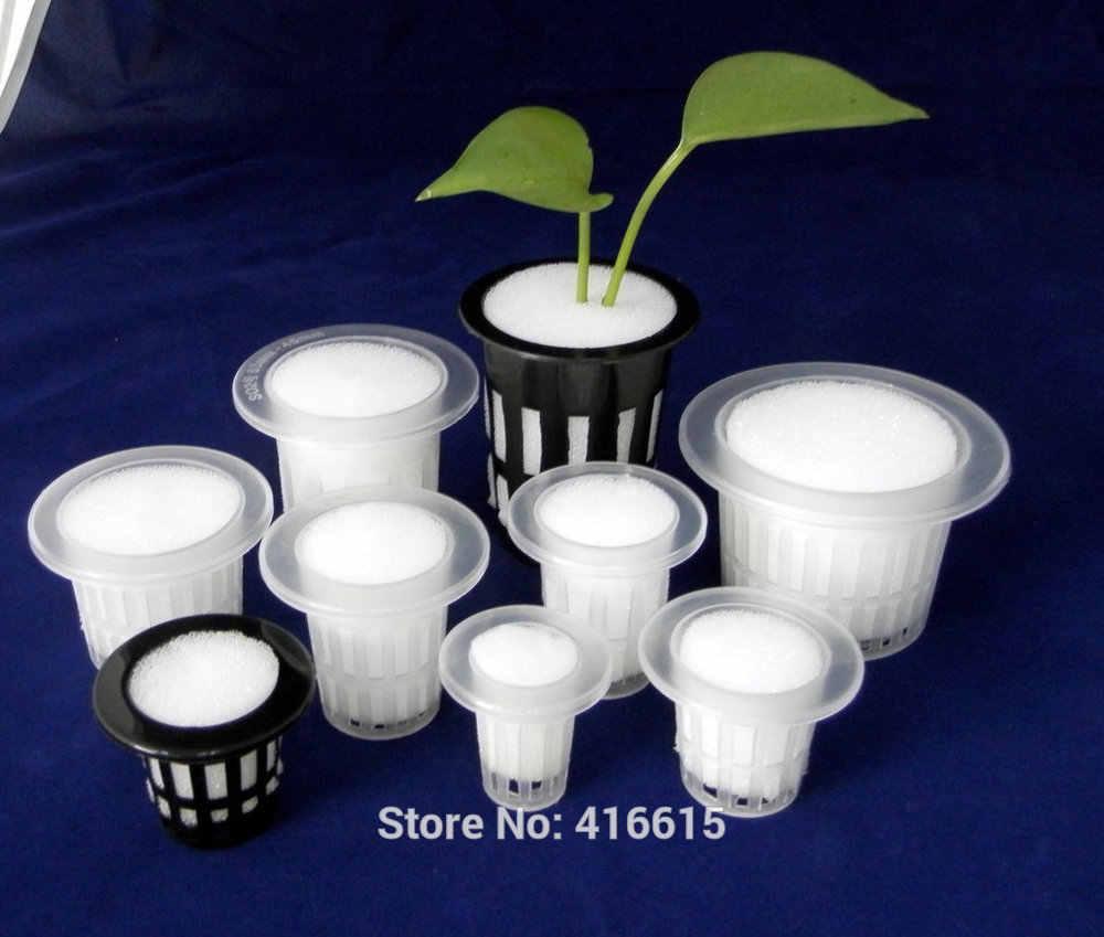 Engraftmentตะกร้าผักปลูกเนอสเซอรี่ตะกร้าถ้วยถ้วยสุทธิหม้อสำหรับระบบไฮโดรโปนิพลาสติกสีดำต้นกล้าหม้อ