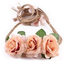 Women Rose Flower Wreath Festival Wedding Girls Party Floral Garlands Crown Floral Crown Headband Hemp Rope Bridal Props P0.00