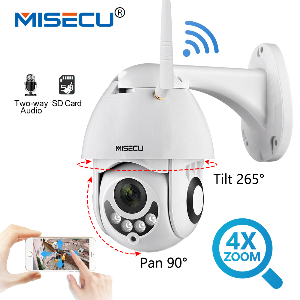 MISECU 1080P 2MP Speed Dome Outdoor Wifi Wireless PTZ IP Camera 4x Optical Zoom 2 Way Audio SD Card IR Vision Video Surveillance 2016 outdoor 1080p wifi ptz camera array ir 2 8 12mm lens 4x optical zoom auto focus waterproof speed dome cam support sd card