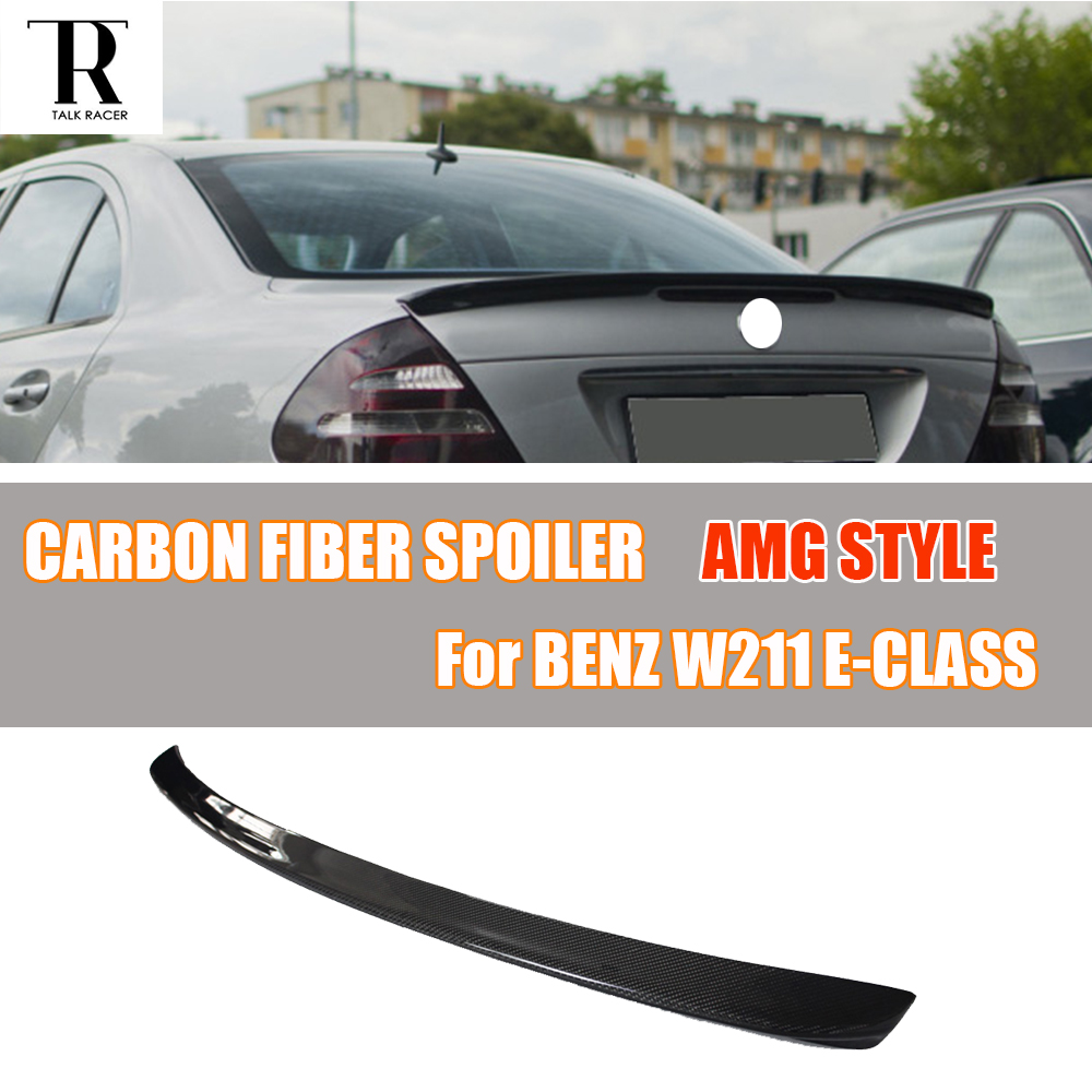 AMG Style W211 Carbon Fiber Rear Trunk Spoiler for Mercedes Benz E200 E220 E230 E240 E270 E280 E300 E320 E350 Sedan 2005 - 2009 yandex mercedes x156 bumper canards carbon fiber splitter lip for benz gla class x156 with amg package 2015 present