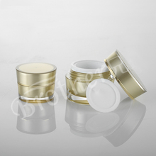 Makeup tools 5g 10g Golden Acrylic Plastic Conical Cosmetic Jars Empty Face Cream Refillable Bottles Sample Jar 100pcs/lot