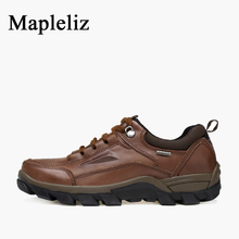 Mapleliz Brand Ankle Round Toe Men Work Safety Boots Genuine Leather High Quality Lace-Up Sewing Solid Boots For Men