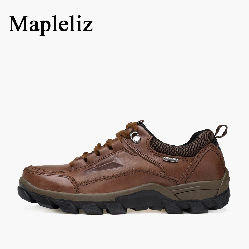 Mapleliz Genuine Leather Men Boots Winter Lace-Up Ankle Round Toe Walk Safety Boots High Quality Sewing Solid Boots For Male  противоскользящие полоски safety walk цвет серый 6 шт