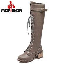 FITWEE Size 34 43 Women Thick Fur Inside High Heel Winter Boots For Women Cross Strap