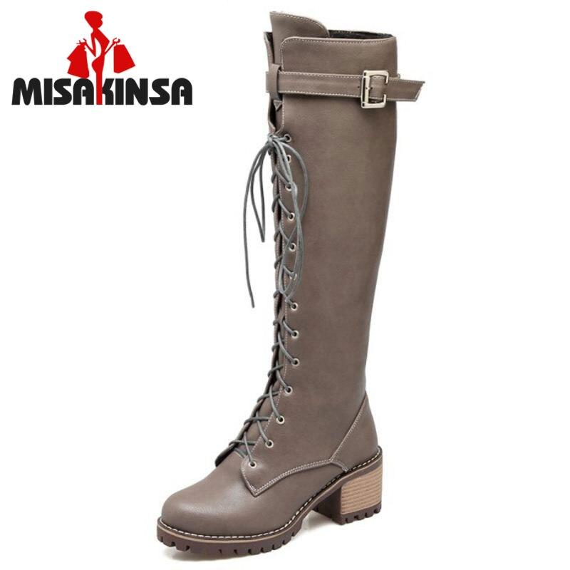 MISAKINSA Size 34 43 Women Thick Fur Inside High Heel Winter Boots For Women Cross Strap