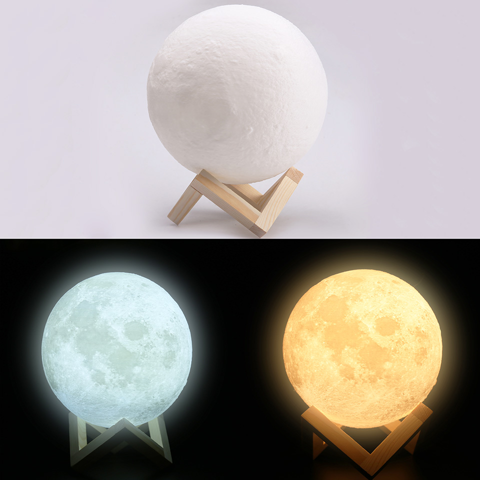 Night Lights Moon Lamp 20 18 15cm Rechargeable 3D Print Moon Lamp 2 Color Change Touch Moon Light USB Led Moonlight 3d print moonlight moonlight lamp led lamp light sensor moonlight moonlight lamp