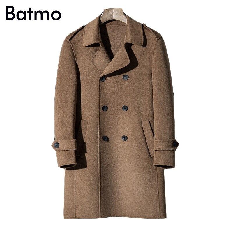 100% Waar Batmo 2018 Nieuwe Aankomst Hoge Kwaliteit Double Breasted Double Side Wol Toevallige Lange Trenchcoat Mannen, Mannen Lange Parka, Plus-size Al08