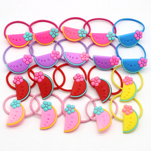 50pc/lot Wholesale PVC Fruit Hair Tie Gum For Girls Summer Style Watermelon Elastic Bands Holder Headwear