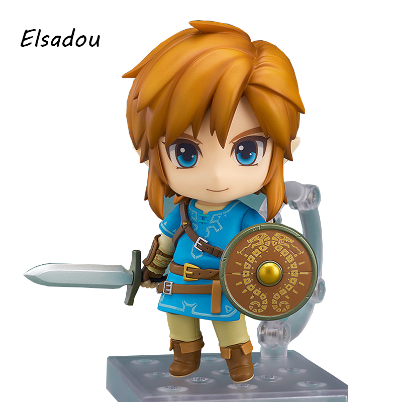 Elsadou #733 The Legend of Zelda Link Breath of the Wild Nendoroid Action Figure Doll Toy for Collection