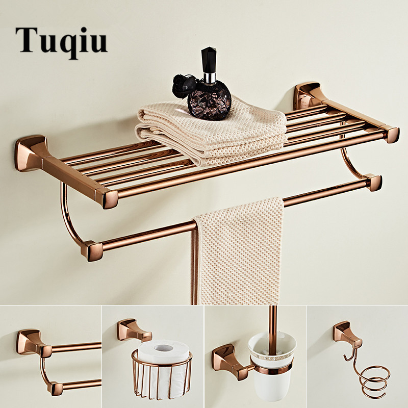 Bathroom Accessories Set Brass Rose Gold Bath Hardware Sets Towel