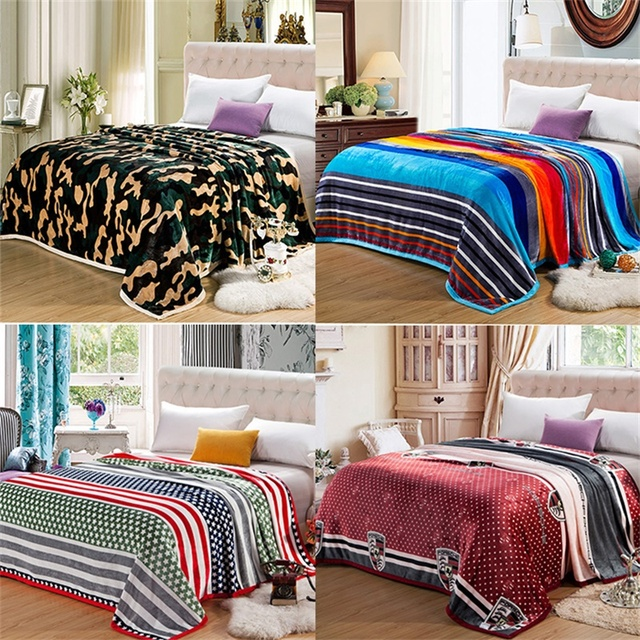 Quality Camouflage Colorful Stripe Plush Faux Mink Flannel Fleece Blanket Throws Twin Full Queen