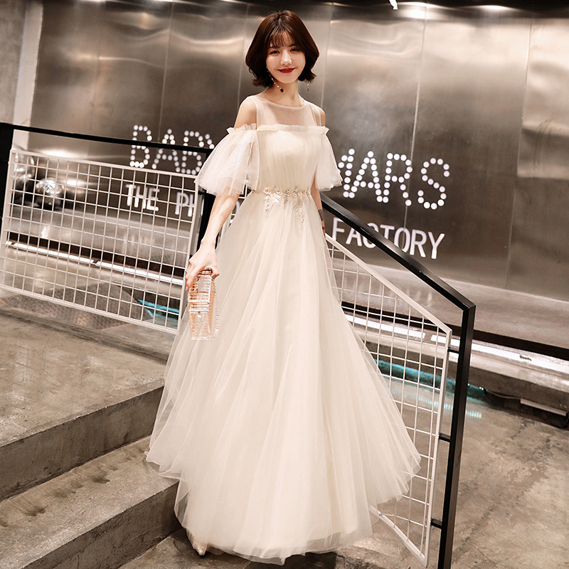 Beauty Emily   Prom   Gowns White A-line Floor Length Half Sleeves Tulle Plus Size O-neck Simple Customized Party   Prom     Dresses