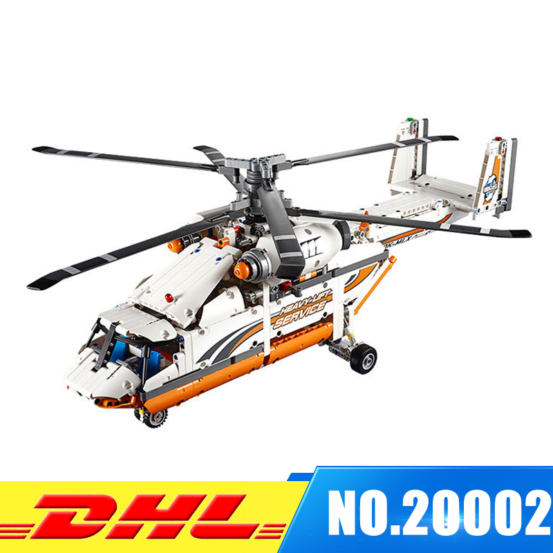 DHL LEPIN 20002 technic series 1060pcs Double rotor transport helicopter Model Building blocks Bricks Compatible 42052 Boy toys lepin 02004 356pcs city series volcanic expedition transport helicopter model building blocks bricks toys for children gift