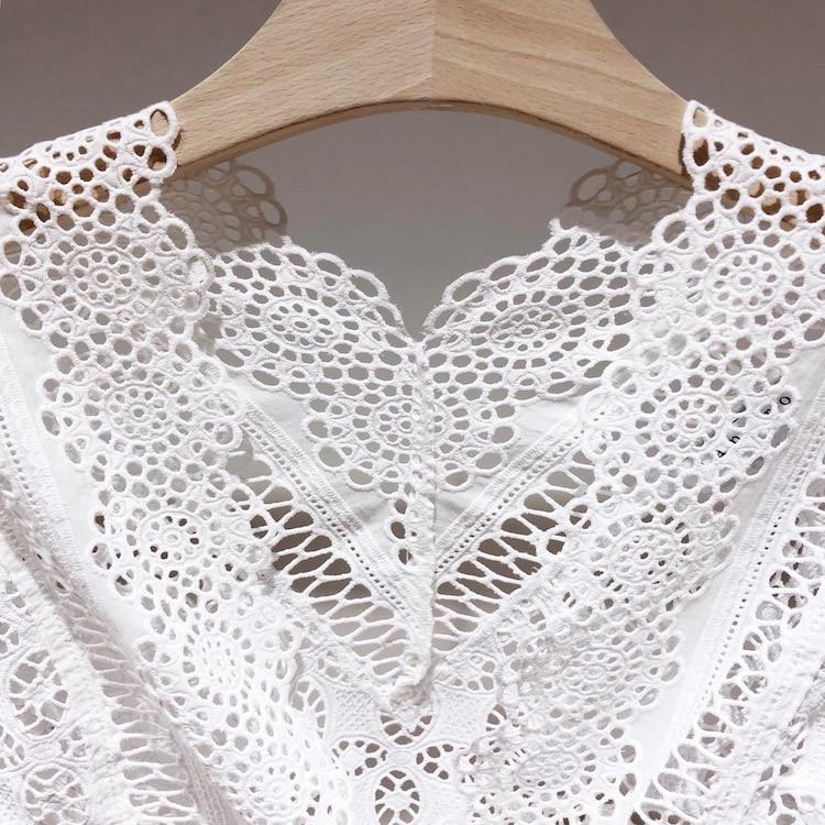 OXANT Женская кружевная рубашка Haute Couture весна новый супер фея сексуальный полый v образный вырез рог рукав длинный рукав красный Женский топы - 6