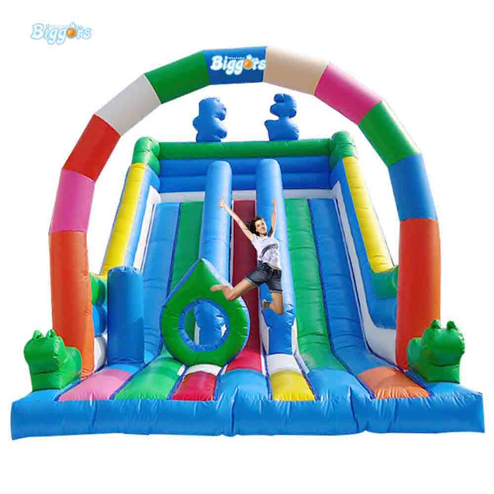 Outdoor Commercial Use Giant Inflatable Double Lane Water Slide With Arch giant pvc commercial inflatable water slide with pool for sale