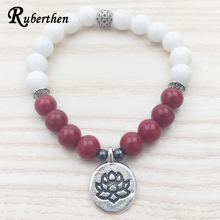 Ruberthen 2017 New Design Rose Stone Women Bracelet White Stone Bracelet Lotus Charm Yogi Gifts Meditation Mala Beaded Bracelet