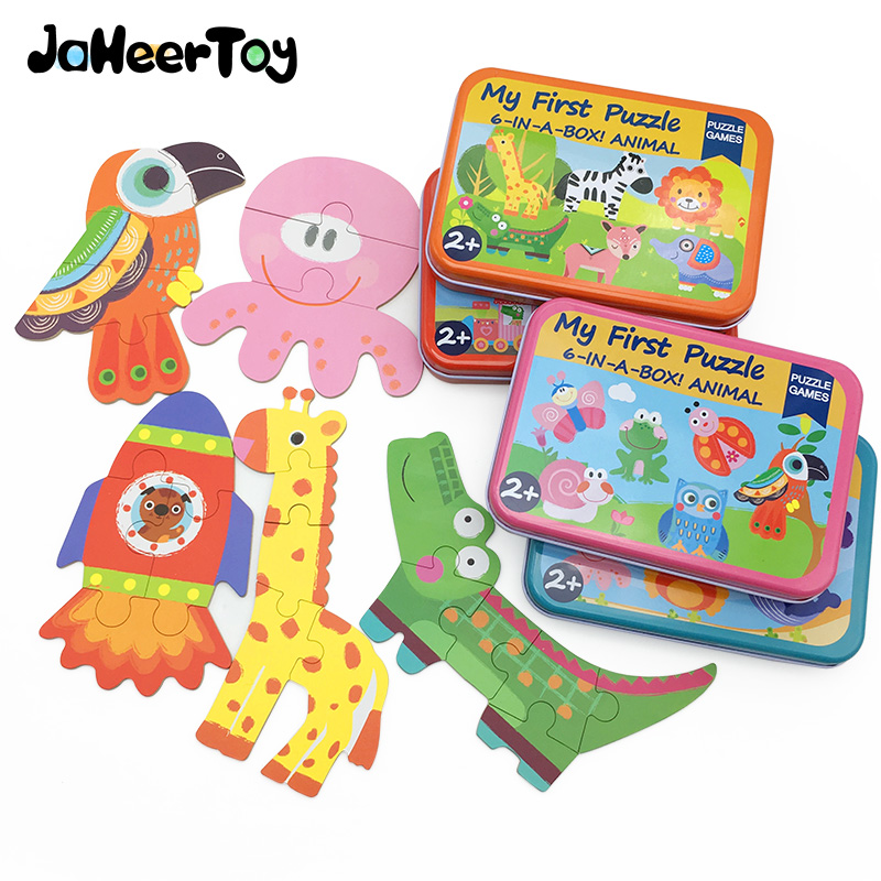 JaheerToy Baby Toys for Children Paper Jigsaw Puzzle Box Montessori Educational Toy Cartoon Insects Marine Animal Puzzles