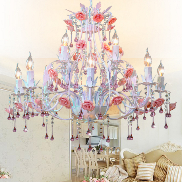 Chinese Romantic Chandelier Past Flowers And Lanterns Living Room Lamp Chandeliers Crystal Dining Bedroom