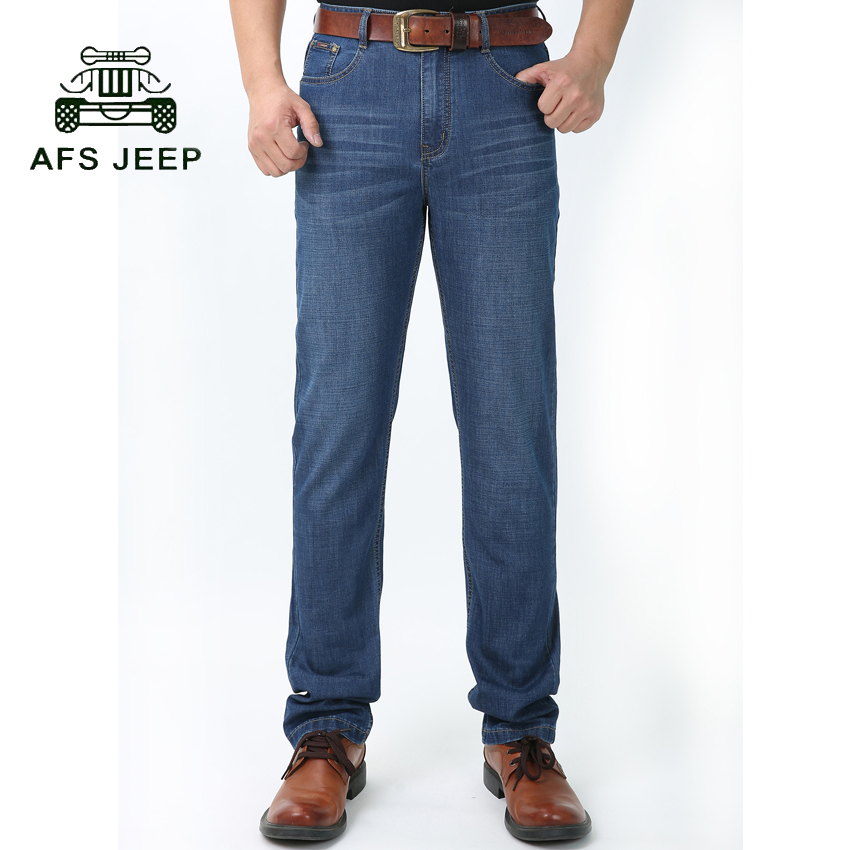 ФОТО  AFS JEEP brand Men Jeans Spring And Summer Men's Clothing Casual Denim trousers Men Regular Blue jean pants 75cy