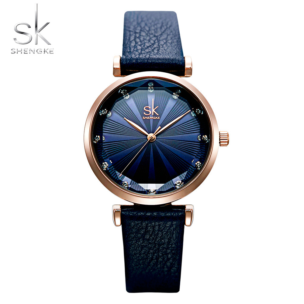 Shengke Leather Women Watches Creative Dial Quartz Lady Clock Relojes Para Mujer Gift Fashion Casual Crystal Decoration WatchShengke Leather Women Watches Creative Dial Quartz Lady Clock Relojes Para Mujer Gift Fashion Casual Crystal Decoration Watch