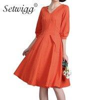 SETWIGG Spring Half Sleeved Casual Linen Cotton A Line Midi Dress High Quality V Neck Pockets