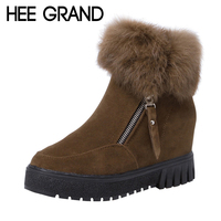 HEE GRAND 2017 New Increased Inside Winter Women Ankle Boots Faux Fur Creepers Casual Shoes Woman