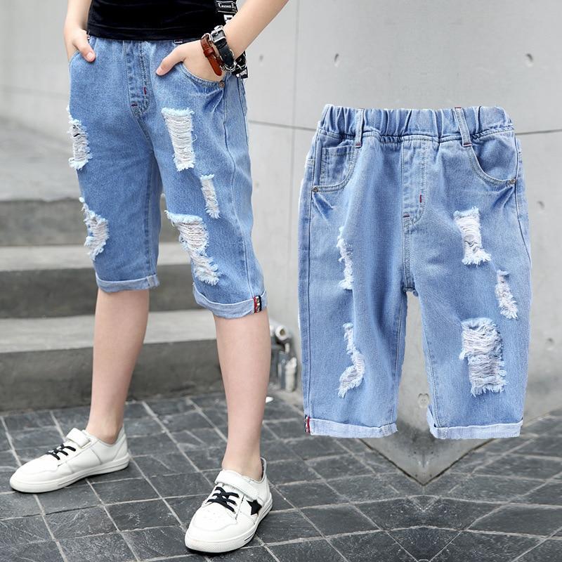 4-16T 2018 Summer hole big boy denim jeans shorts pants calf-length 50% length children boy jeans short pants children trousers 1