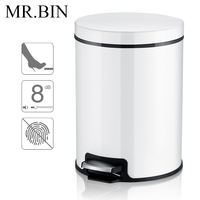 MR.BIN 5L Macaron Plus Trash Can Stainless Steel Garbage Bin with Foot Pedal Metal Waste Bin for Kitchen & Living Room
