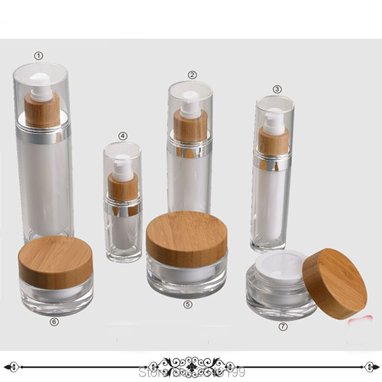 15ml 30g 50g 60ml 120ml Empty Arcylic Cosmetic Container DIY Empty Lotion Pump Bottle Cream Jar With Bamboo Cap 10pcs/lot