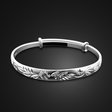 new Bohemian Vintage Retro Silver Bangles Women. Classic  Carved Leaf Plum Bracelets zircon. Solid 925 Sterling