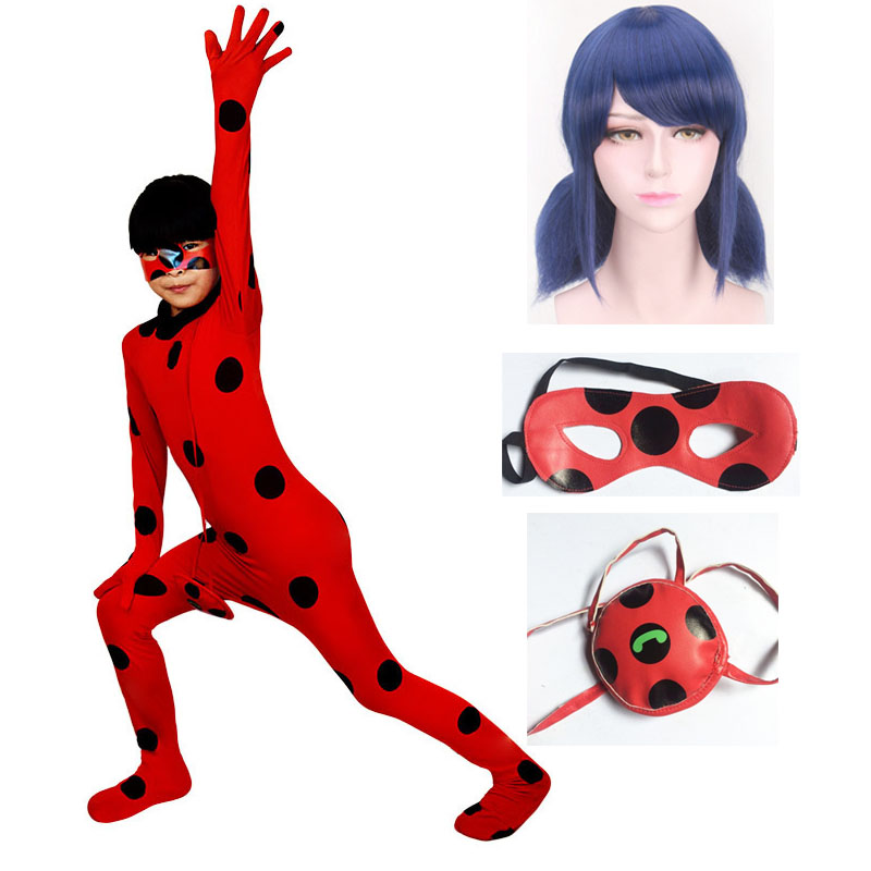 Children Adult  Ladybug Suit Cosplay Costume Halloween Girls Lady bug Jumpsuits With Wig Costumes for Halloween Romper
