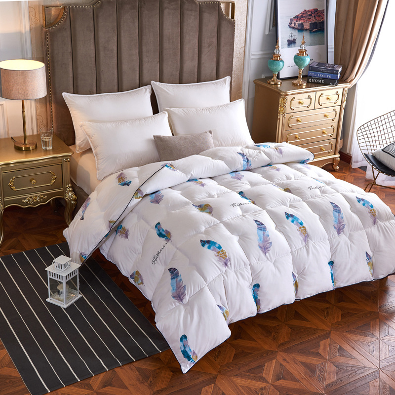 Feather Print Thicken Warm Comforter blanket quilt duvet for Winter Filling Feather Fabric Stitching Bedding Free