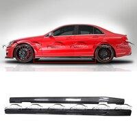 V Стиль углеродного волокна сторона юбки полоса для установки губы наборы для тела Mercedes Benz W204 C63 стайлинга автомобилей